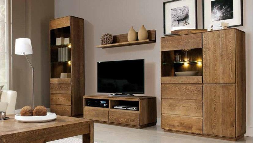 luxus wohnwand aus eiche massiv. Black Bedroom Furniture Sets. Home Design Ideas
