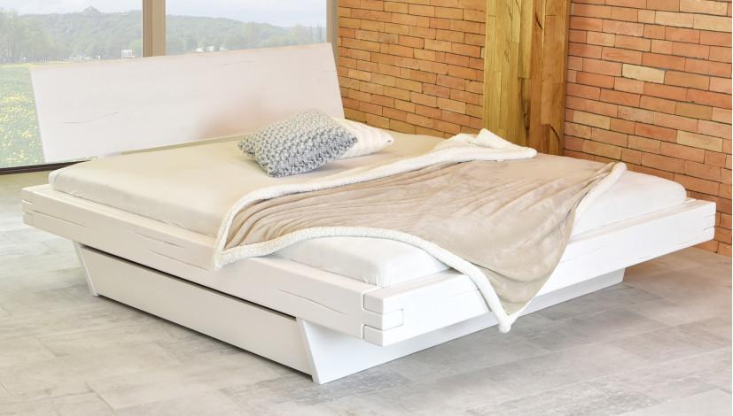 Weißes Balkenbett Aus Massivholz Mit Stauraum Matúš 160x200 Oder 180x200