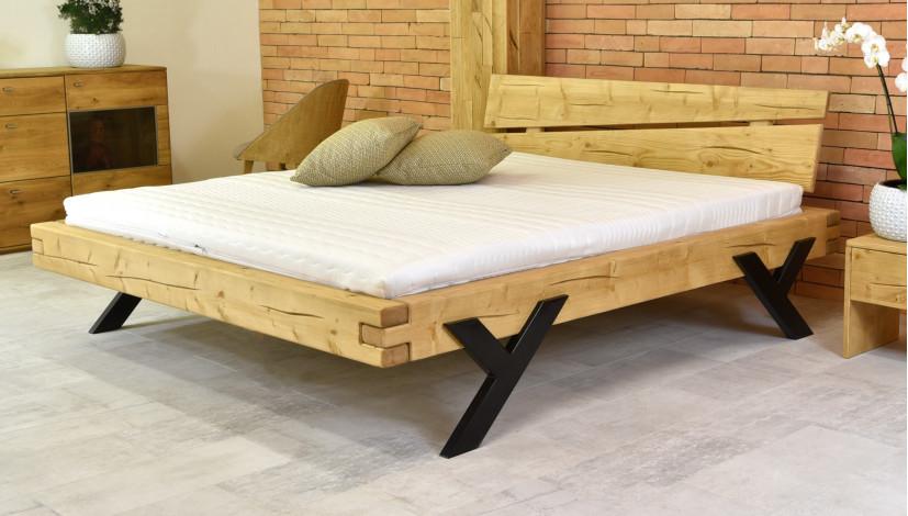Balkenbett fichte  Designes Doppelbett aus Fichte - Stahlbeine in Y- Form /160x200cm ...